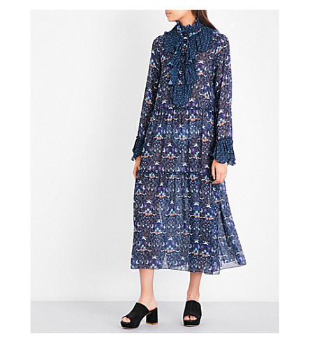 SEE BY CHLOE Floral-print chiffon dress (Dark+navy