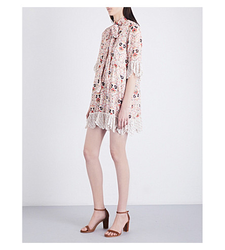 SEE BY CHLOE Ruffle-trim floral-print crepe dress (Winter+white