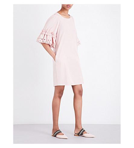 SEE BY CHLOE Ruffled cotton-poplin dress (Blush