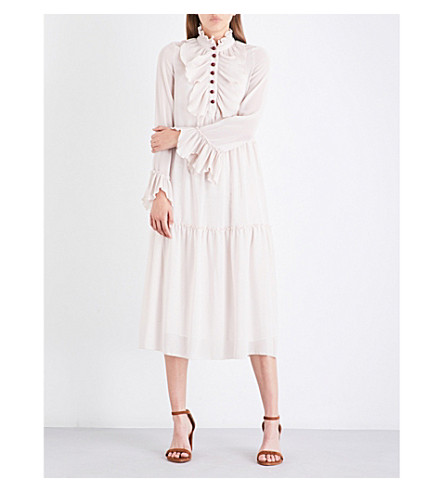 SEE BY CHLOE Frilled loose-fit chiffon dress (Morganite