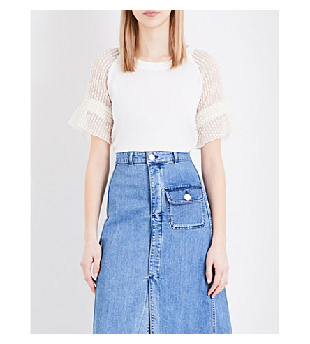 SEE BY CHLOE Embroidered tulle-sleeve cotton-jersey T-shirt (Off white