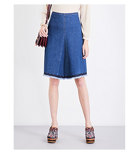 SEE BY CHLOE Centre-panel denim skirt (Shady+cobalt