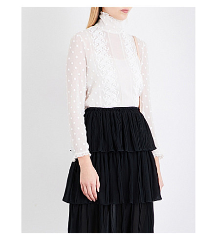 SEE BY CHLOE Frilled collar polka dot-embroidered chiffon blouse (Milk