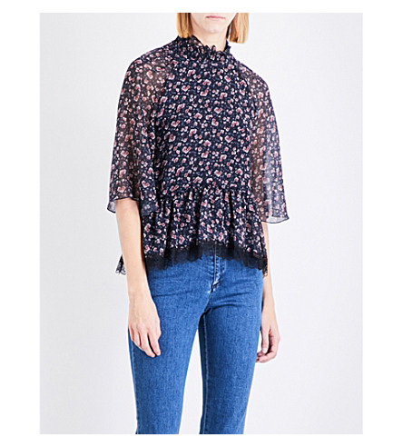 SEE BY CHLOE High-neck floral-print chiffon top (Multicolour+blue