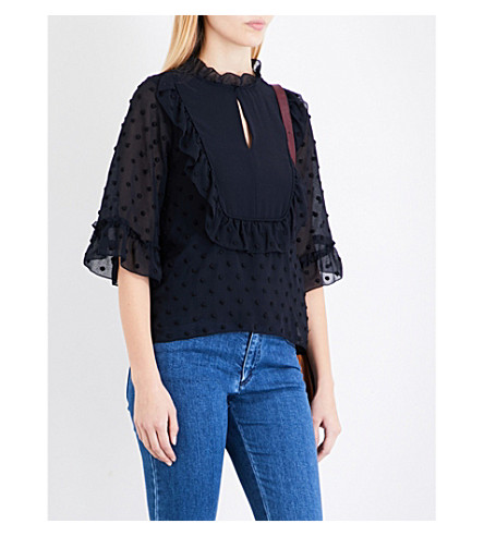 SEE BY CHLOE Ruffled polka dot-embroidered chiffon blouse (Abyss+blue