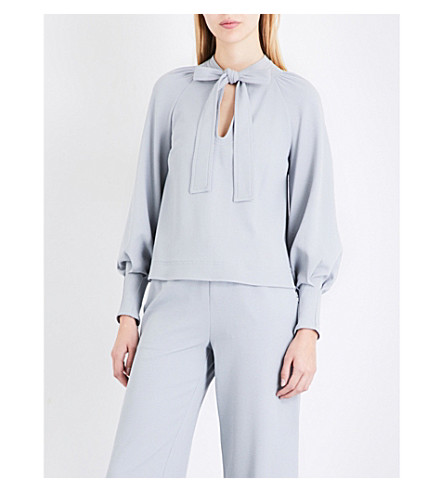SEE BY CHLOE Pussybow crepe blouse (Airy+grey
