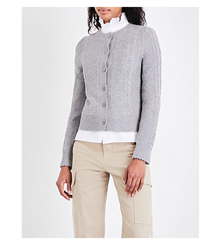 SEE BY CHLOE Floral-lace cable-knit cardigan (Radient+grey