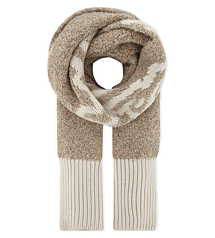 SEE BY CHLOE Chunky knitted logo scarf (Dark+ivory