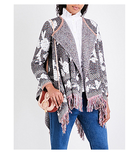 SEE BY CHLOE Fringed knitted cardigan (Multicolour+black