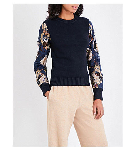 SEE BY CHLOE Floral guipure-lace and knitted jumper (Blue+beige
