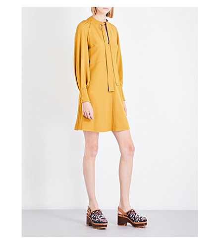 SEE BY CHLOE Self-tie crepe mini dress (Harvest+gold