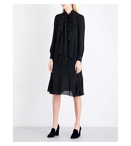 SEE BY CHLOE Pussybow crepe midi dress (Black