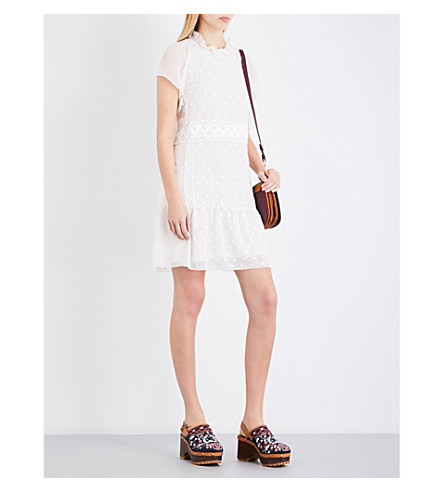 SEE BY CHLOE Frilled collar polka dot-embroidered chiffon dress (Milk