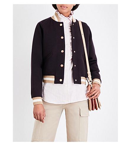 SEE BY CHLOE Varsity wool-blend bomber jacket (Carbon+beige