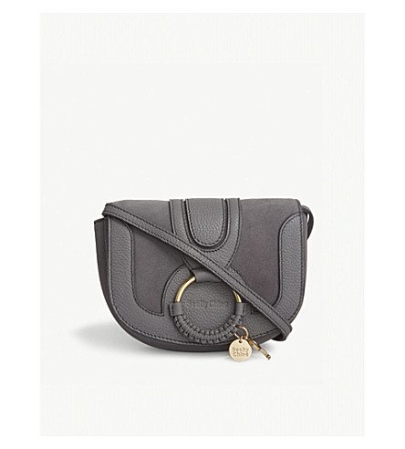 SEE BY CHLOE Hana mini leather and suede cross-body bag (Somber+grey