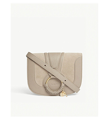 SEE BY CHLOE Hana small suede and leather cross-body bag (Nr23w+motty+grey