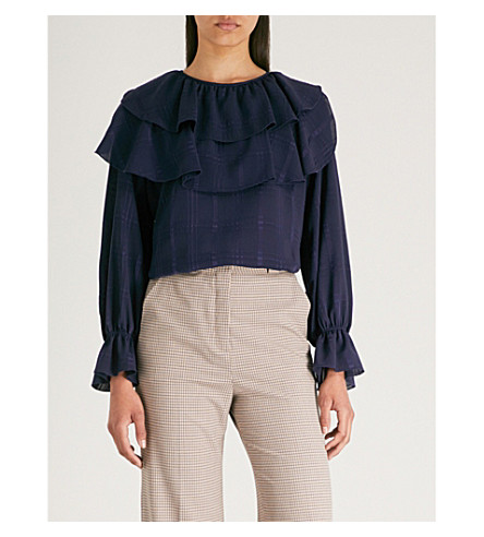 Evening BY blue BY blouse SEE CHLOE Checked ruffled CHLOE SEE satin Checked IvPwxUSn