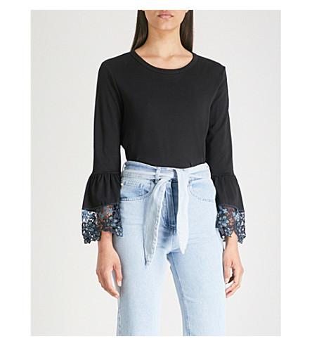 CHLOE T BY jersey Lace shirt cotton SEE Black cuff qwz65Yff
