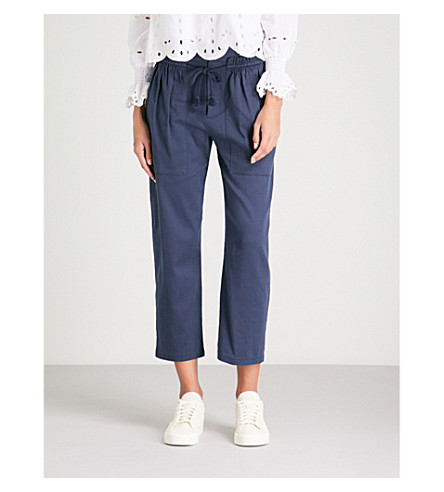 SEE BY CHLOE Straight-leg cotton-twill-blend trousers (Dark+denim