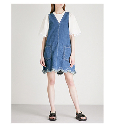 SEE BY CHLOE Scalloped-hem sleeveless denim mini dress (Shady+cobalt