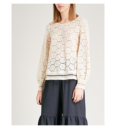 SEE BY CHLOE Crotchet lace top (Crystal+white