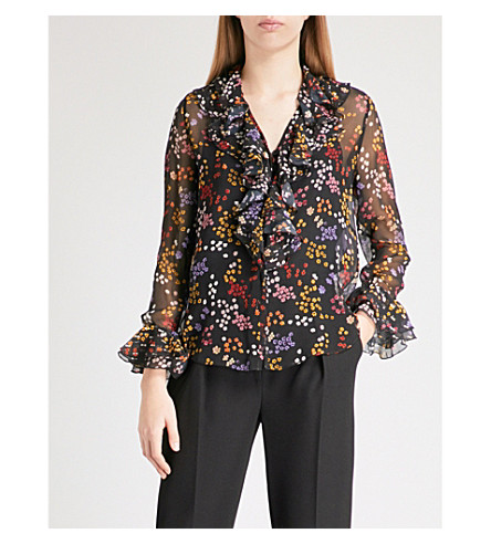 SEE BY CHLOE Disco Floral-print V-neck silk blouse (Multicolor+black+1