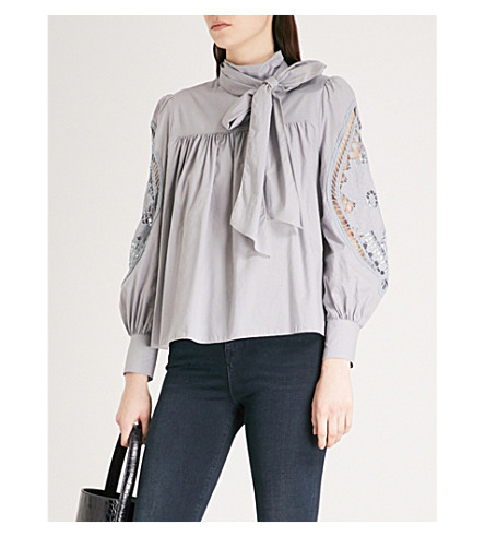 SEE BY CHLOE Lace-detail cotton top (Lilac+grey