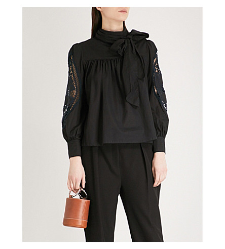 SEE BY CHLOE Lace-detail cotton top (Black