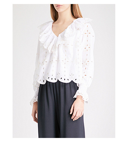 SEE BY CHLOE Ruffled V-neck broderie anglaise top (White