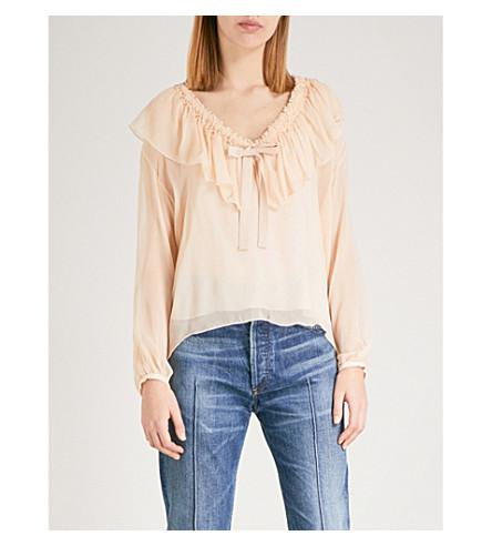 SEE BY CHLOE Ruffled V-neck silk-chiffon blouse (Honey+nude
