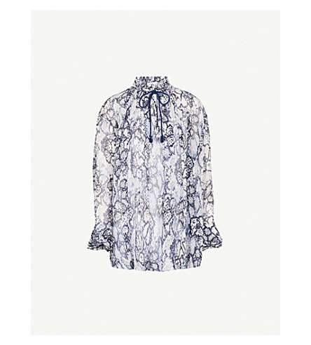 SEE BY CHLOE Snakeskin-print chiffon blouse (Multicolor+blue+1