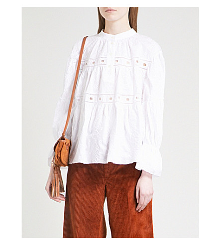 SEE BY CHLOE Embroidered cutout cotton top (White