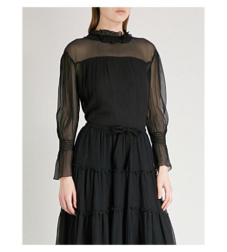 SEE BY CHLOE Ruffled-neck silk-chiffon blouse (Black