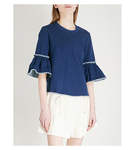 SEE BY CHLOE Frilled-sleeve cotton-blend jumper (Shady+cobalt