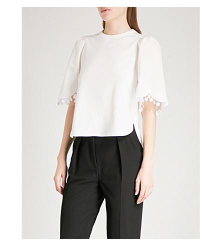 SEE BY CHLOE Lace-trim cotton-jersey T-shirt (White+powder