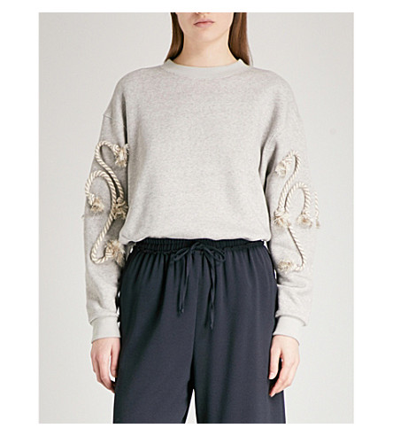 SEE BY CHLOE Rope-detail cotton-blend sweatshirt (Drizzle+grey