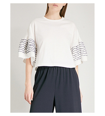 SEE BY CHLOE Ruffle-detail cotton-jersey T-shirt (Snow+white