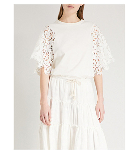 SEE BY CHLOE Cutout cotton-jersey T-shirt (Snow+white