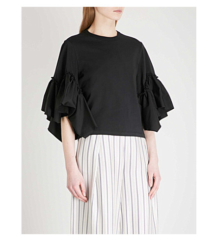 SEE BY CHLOE Ruched-sleeve cotton T-shirt (Black