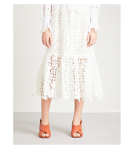 SEE BY CHLOE Floral-embroidered high-rise lace midi skirt (Snow+white
