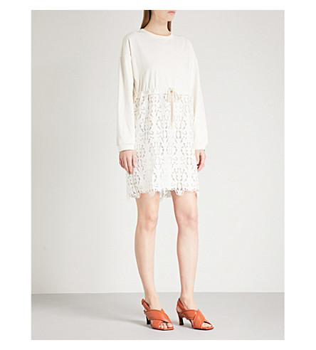 SEE BY CHLOE Lace-detail cotton-jersey jumper dress (Snow+white