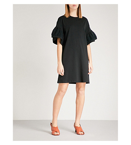 SEE BY CHLOE Bell-sleeve cotton-jersey T-shirt dress (Black