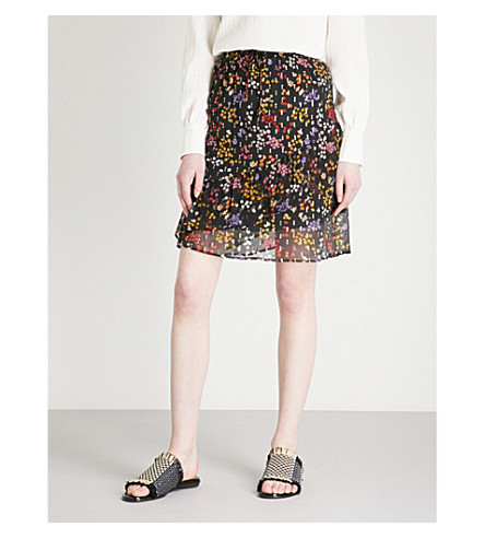 SEE BY CHLOE Disco floral silk skirt (Multicolor+black+1