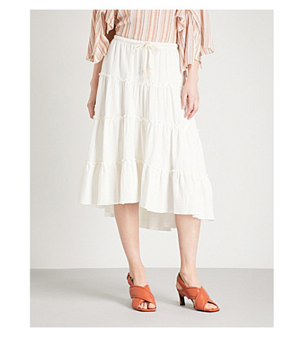 SEE BY CHLOE Tiered asymmetric cotton midi skirt (White+powder