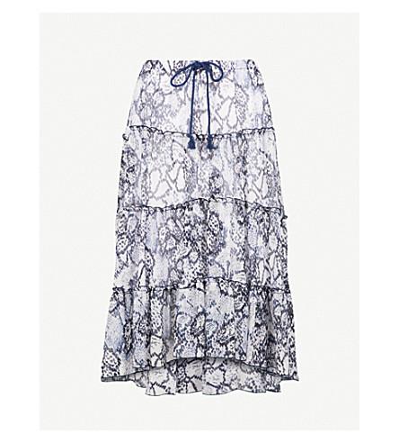 SEE BY CHLOE Skakeskin-print chiffon skirt (Multicolor+blue+1
