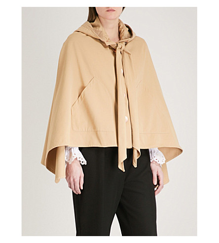 SEE BY CHLOE Tie-neck hooded cotton cape (Barely+brown