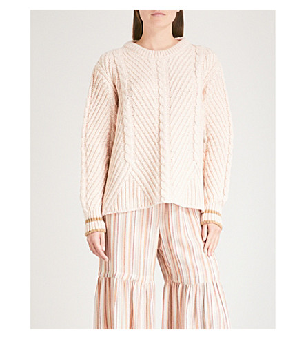 SEE BY CHLOE Chunky cable-knit jumper (Honey+nude