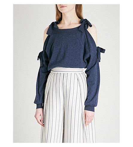 SEE BY CHLOE Tie-shoulder wool and cotton-blend jumper (Stormy+night