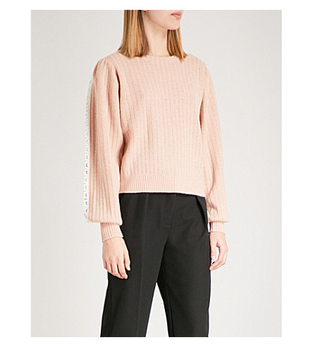 SEE BY CHLOE Lace-trim chunky-knit jumper (Cameo+rose