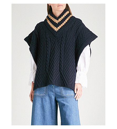 SEE BY CHLOE Chunky cable-knit poncho (Ultramarine